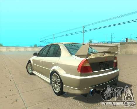 Mitsubishi Lancer Evolution VI 1999 Tunable para el motor de GTA San Andreas