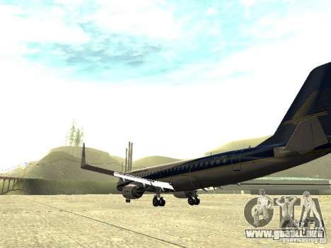 Embraer E-190 para GTA San Andreas vista posterior izquierda