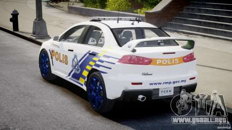 Mitsubishi Evolution X Police Car [ELS] para GTA 4 vista lateral