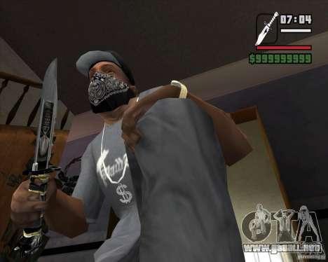 El cuchillo de Nº 5 de la acosadora para GTA San Andreas segunda pantalla