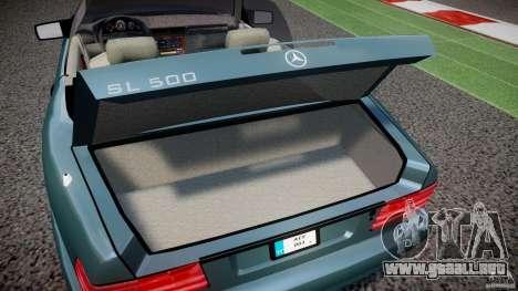 Mercedes-Benz SL500 para GTA 4 vista hacia atrás