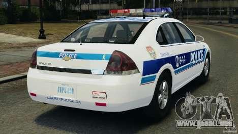 Chevrolet Impala 2012 LCPD para GTA 4 Vista posterior izquierda