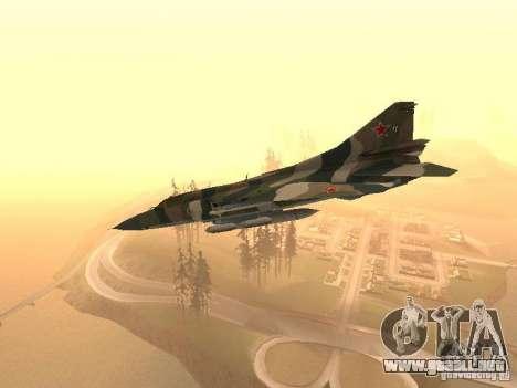 Mikoyan-Gurevich Mig-23 para GTA San Andreas vista posterior izquierda