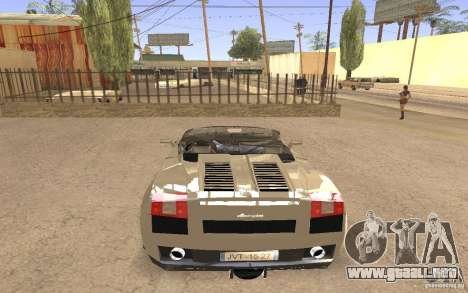 Lamborghini Galardo Spider para GTA San Andreas left