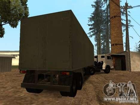 Trailer de Kamaz 5410 para la visión correcta GTA San Andreas