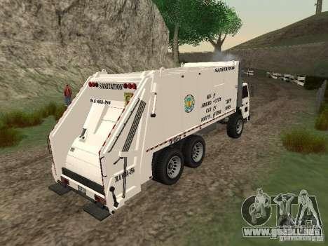 Camión de basura de GTA 4 para GTA San Andreas vista hacia atrás
