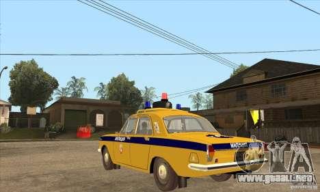 Policía 2401 Volga GAZ para GTA San Andreas vista posterior izquierda