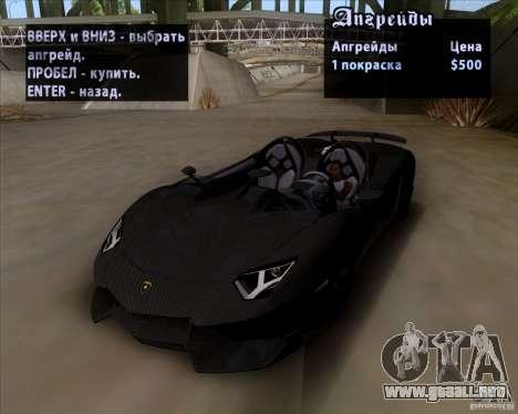 Lamborghini Aventador J TT Black Revel para visión interna GTA San Andreas
