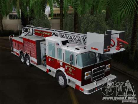 Pierce Aerials Platform. SFFD Ladder 15 para vista lateral GTA San Andreas