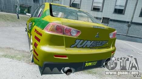 Mitsubishi Lancer X JUN para GTA 4 visión correcta