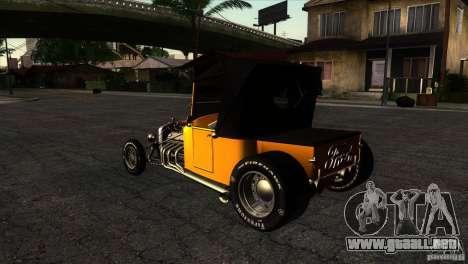Ford T 1927 Hot Rod para GTA San Andreas vista posterior izquierda