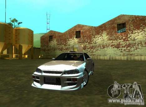 Nissan Skyline GTR-34 para la visión correcta GTA San Andreas