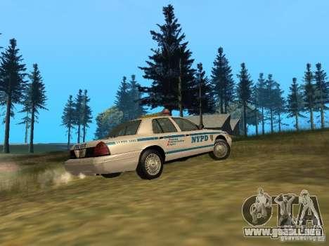 Ford Crown Victoria NYPD Police para GTA San Andreas vista hacia atrás
