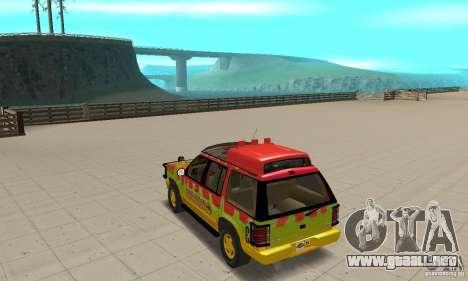 Ford Explorer (Jurassic Park) para GTA San Andreas vista posterior izquierda