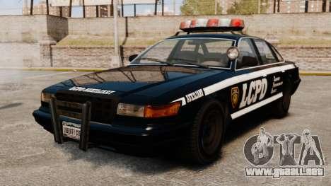 Un nuevo coche patrulla para GTA 4 vista hacia atrás