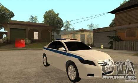 Toyota Camry 2010 SE Police RUS para GTA San Andreas vista hacia atrás