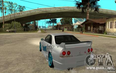 Nissan Skyline R33 Drift para GTA San Andreas vista posterior izquierda