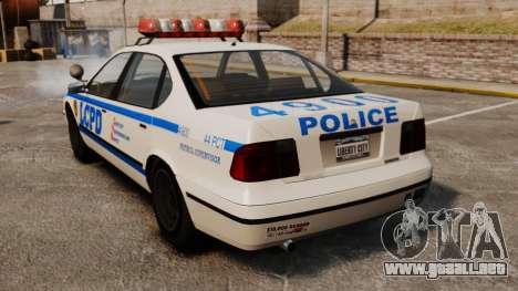 Nueva patrulla de la policía para GTA 4 Vista posterior izquierda