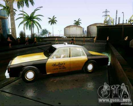 Chevrolet Impala 1986 Taxi Cab para GTA San Andreas vista posterior izquierda