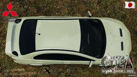 Mitsubishi Lancer Evolution X 2007 para GTA 4 visión correcta