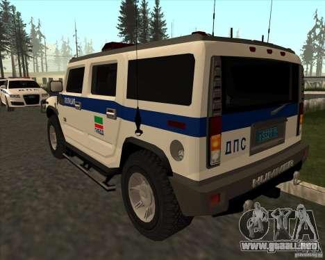 Hummer H2 DPS para GTA San Andreas vista posterior izquierda