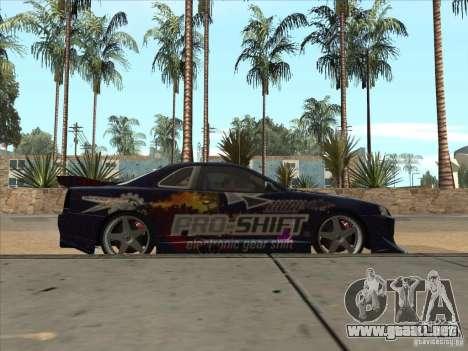 Nissan Skyline R34 VeilSide para visión interna GTA San Andreas