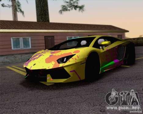Trabajos de pintura Lamborghini Aventador LP700- para GTA San Andreas vista posterior izquierda