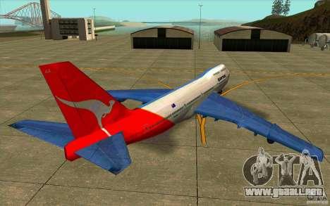 Boeing Qantas 747-400 para GTA San Andreas vista posterior izquierda
