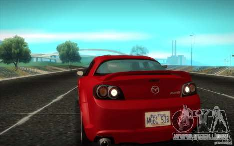 Mazda RX-8 R3 2011 para GTA San Andreas vista posterior izquierda