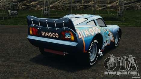 Lightning McQueen Dinoco para GTA 4 Vista posterior izquierda