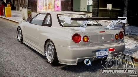 Nissan Skyline R34 Nismo para GTA 4 Vista posterior izquierda
