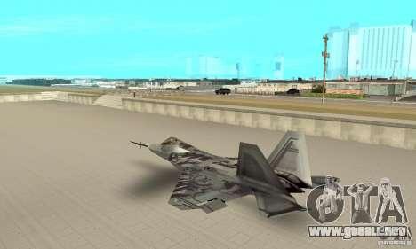 YF-22 Starscream para GTA San Andreas vista posterior izquierda