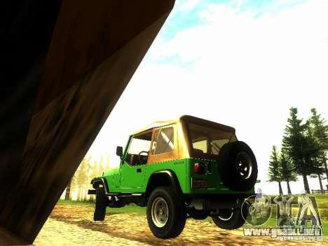 Jeep Wrangler Convertible para GTA San Andreas vista posterior izquierda
