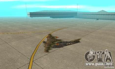 Muy lindo avión de TimeShift para GTA San Andreas vista posterior izquierda