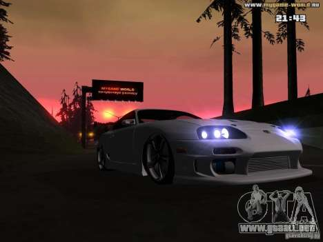 Toyota Supra v2 (MyGame Drift Team) para GTA San Andreas vista hacia atrás
