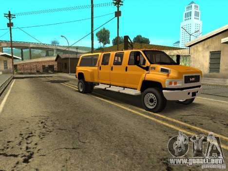 GMC TopKick para GTA San Andreas vista hacia atrás