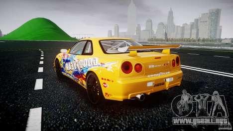 Nissan Skyline R34 GT-R Tezuka Goodyear D1 Drift para GTA 4 Vista posterior izquierda