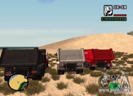 Camión KrAZ 65055 para GTA San Andreas vista posterior izquierda