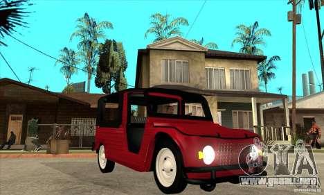 Citroen Mehari para GTA San Andreas vista hacia atrás