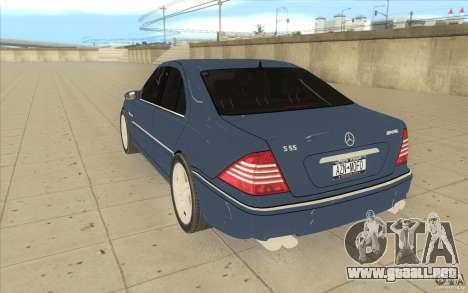 Mercedes-Benz S-Klasse para GTA San Andreas vista posterior izquierda