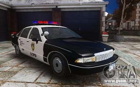 Chevrolet Caprice 1991 Police para GTA 4 vista lateral
