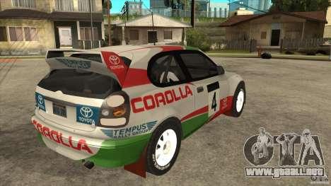Toyota Corolla 1999 Rally Champion para visión interna GTA San Andreas