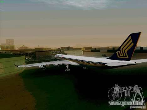 Airbus A-340-600 Singapore para la visión correcta GTA San Andreas
