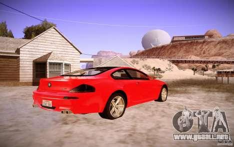 BMW M6 para GTA San Andreas vista posterior izquierda