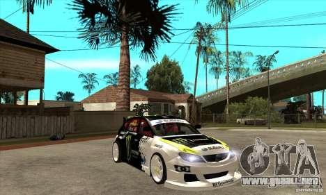 Subaru Impreza 2009 (Ken Block) para GTA San Andreas vista hacia atrás