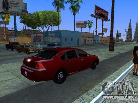 Chevrolet Impala Unmarked para GTA San Andreas vista hacia atrás
