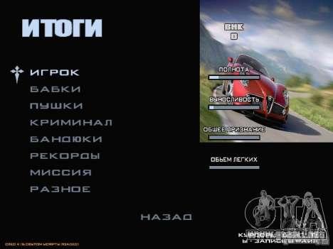Arrancar la pantalla y menú mundo Mishin v2 para GTA San Andreas octavo de pantalla