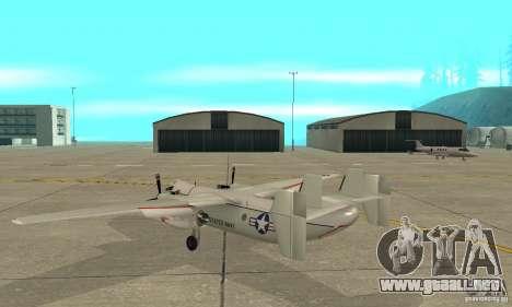 C-2 Greyhound para GTA San Andreas vista posterior izquierda