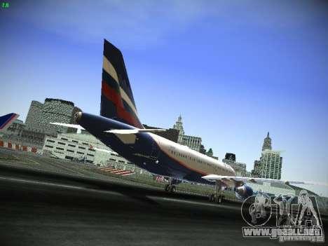 Aeroflot Russian Airlines Airbus A320 para GTA San Andreas vista hacia atrás