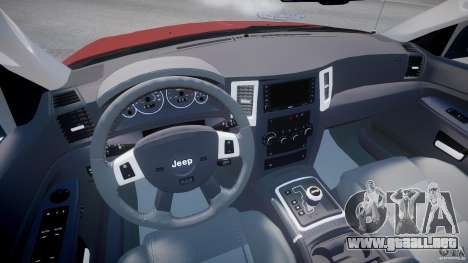 Jeep Grand Cherokee para GTA 4 vista hacia atrás